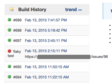 looking at the build history quickly shows the flaky tests